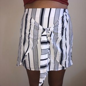 White Skirt with Blue Stripes & Cute Tie on Front